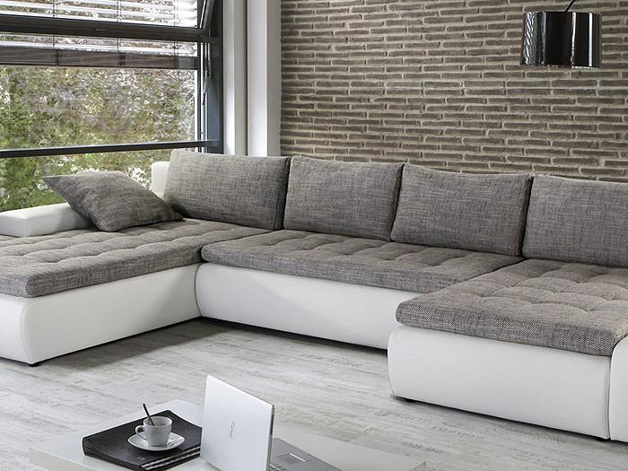 wohnzimmer couch grau: grau, Kunstleder weiß Wohnzimmer Sofa & Couch Wohnlandschaften